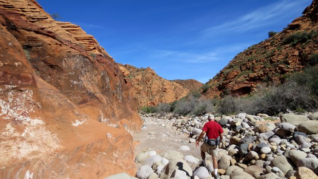 Tom climbing through piles of rocks in the wash, Red Cliffs National Conservation Area, Utah