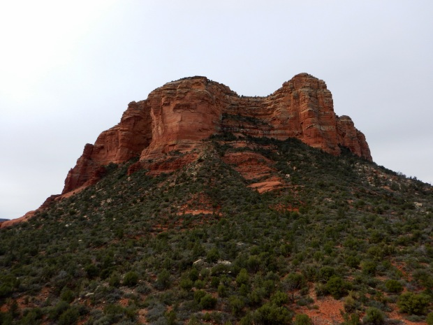 Courthouse Butte seen from top of Little Bell Rock, Bell Rock Pathway, Sedona, Arizona