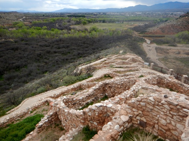 Looking down from the highest level of the pueblo, Tuzigoot National Monument, Arizona