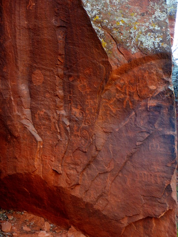 So-called Moon Panel that included initiation portrayals, V – Bar – V Heritage Site, Coconino National Forest, Arizona