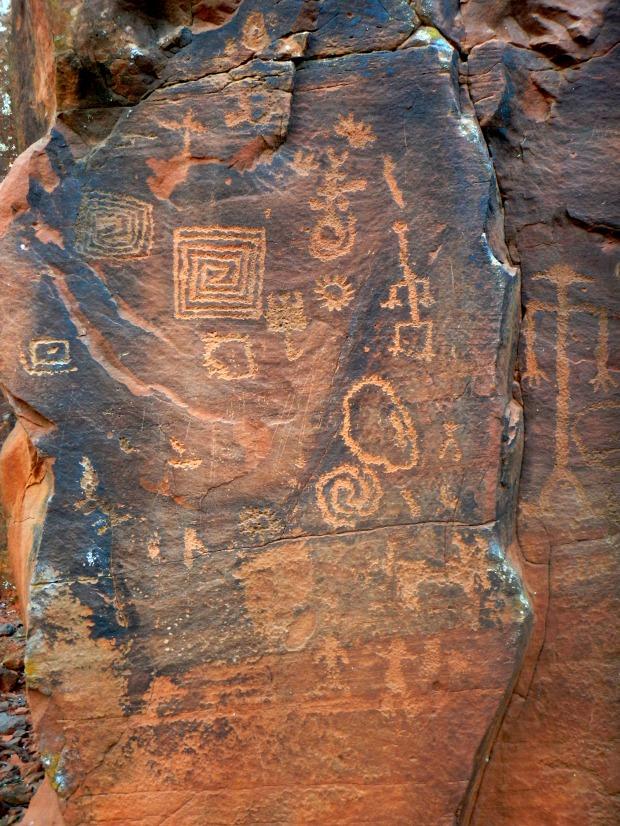 Panel with geometric spirals, V – Bar – V Heritage Site, Coconino National Forest, Arizona