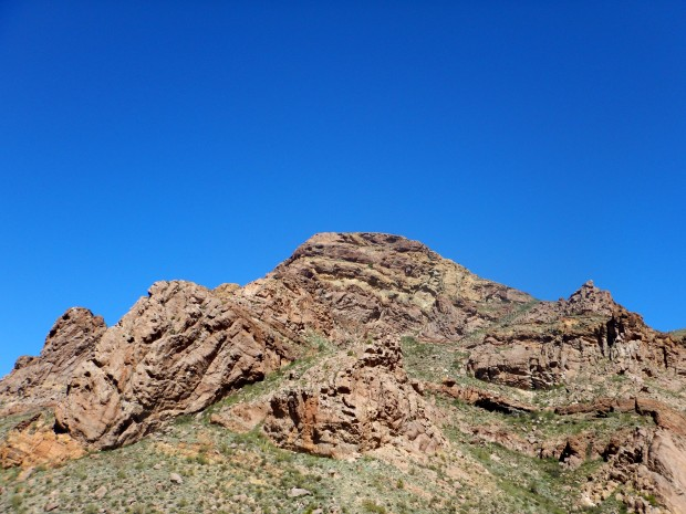 Folded rhyolite and tuff layers of Ajo Mountains, Arch Canyon Trail, Organ Pipe Cactus National Monument, Arizona