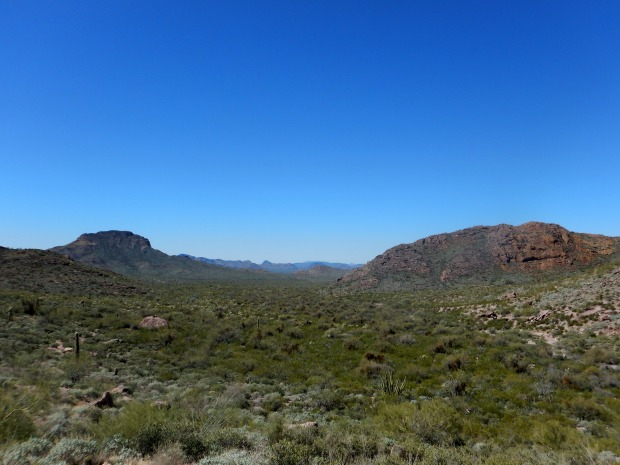 Looking back while climbing Arch Canyon Trail, Organ Pipe Cactus National Monument, Arizona