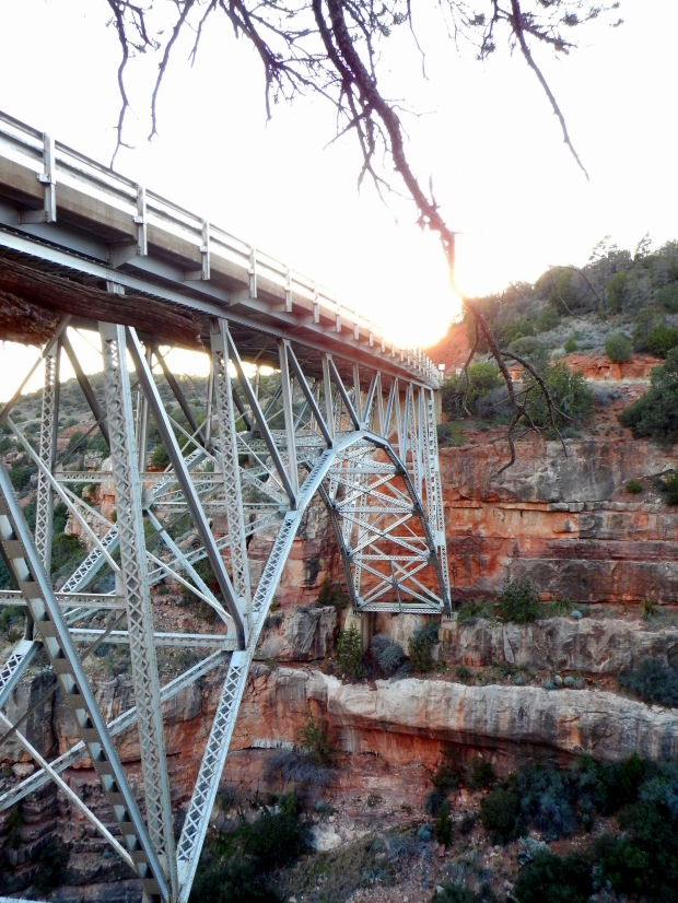 Late afternoon sun at Midgely Bridge, Oak Creek Canyon, Coconino National Forest, Arizona