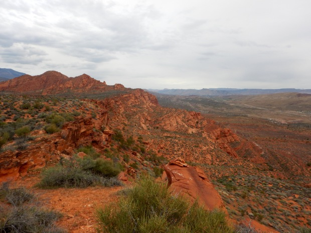 Looking down and back while hiking along the top, Red Cliffs National Conservation Area, Utah