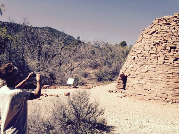 Me taking pictures of the charcoal kiln, Dixie National Forest, Utah