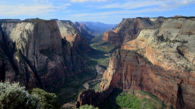 View from Observation Point with Angel's Landing about a thousand feet below, Zion National Park, Utah