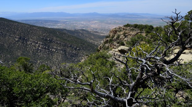 Looking down Fiddler's Canyon towards Cedar City, Utah