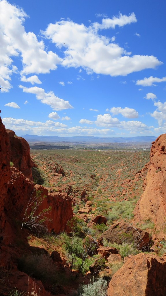 Looking back while climbing Dino Cliffs, Red Cliffs Desert Reserve, Utah