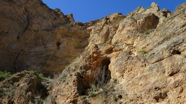 Eroding canyon walls near trailhead, Spring Creek Canyon, Utah
