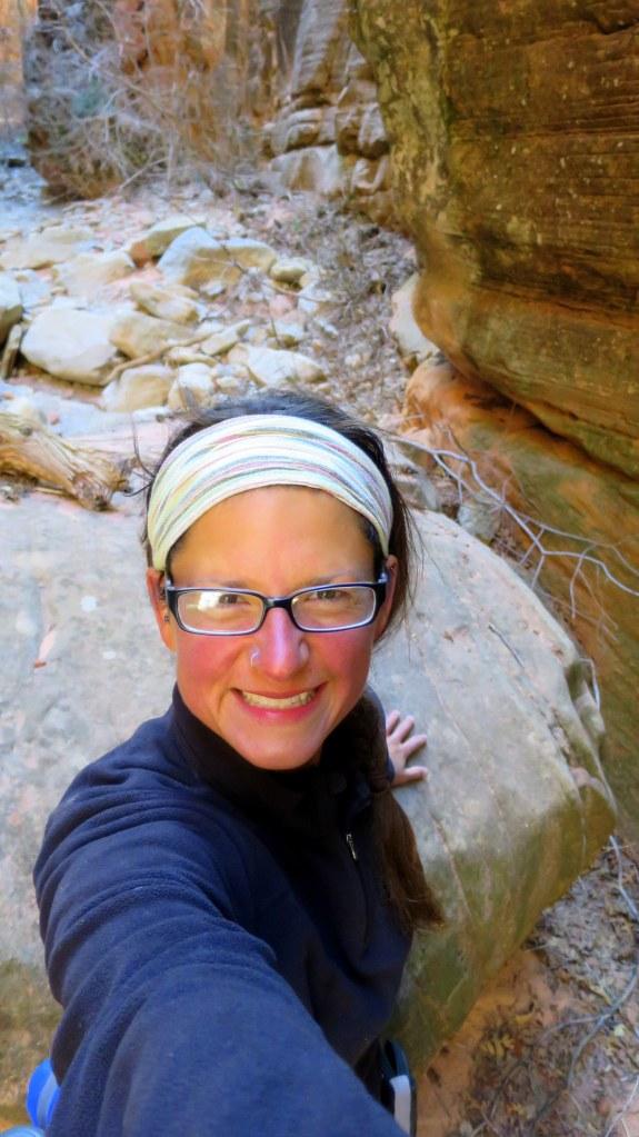 Me scrambling in the narrows, Spring Creek Canyon, Utah