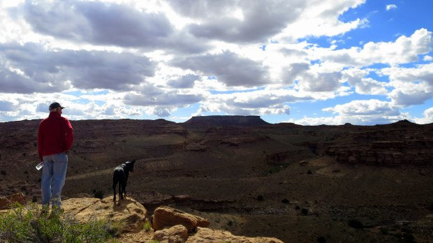 Tom and Abby surveying the canyon, San Rafael Swell BLM Area, Utah