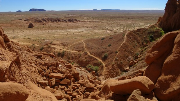 Climbing the cliffs, Goblin Valley State Park, Utah
