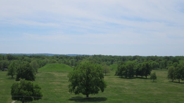 "Looking at the ""Twin Mounds"" from atop Monks Mound, Cahokia Mounds State Historic Site, Illinois"