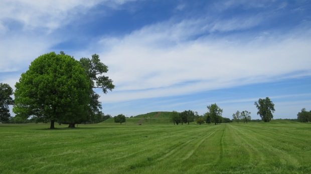 Looking at Monks Mound from Grand Plaza, Cahokia Mounds State Historic Site, Illinois