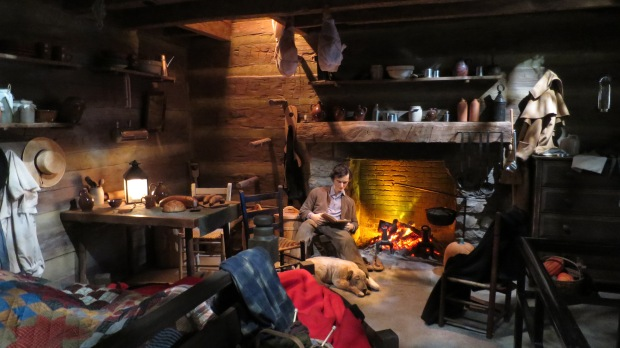 Inside Abe's log cabin, Lincoln Presidential Museum, Springfield, Illinois