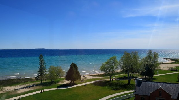 View of the Straits of Mackinac from the tower of the Old Mackinac Point Lighthouse, Michilimackinac State Park, Michigan