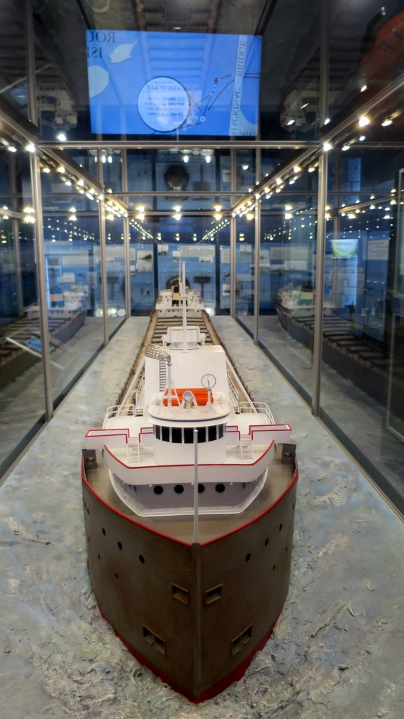 Model of the Cedarville Straits of Mackinac Shipwreck Museum, Michilimackinac State Park, Michigan