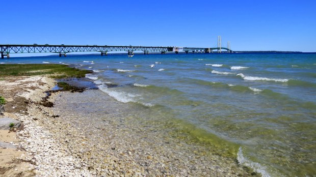 The Mackinac Bridge and the Straits of Mackinac, Michilimackinac State Park, Michigan