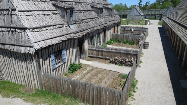 View down on Merchant's House, Trader's House and Soldier's House backyards, Fort Michilimackinac State Park, Michigan