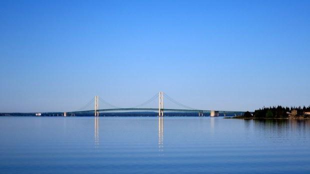 View of the Mackinac Bridge leaving St. Ignace, Michigan