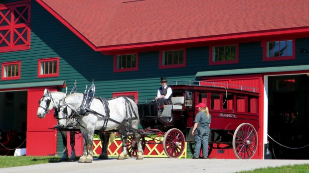 Grand Hotel carriage with drivers we met, Mackinac Island, Michigan