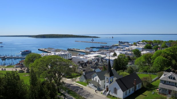 View of downtown from palisades of Fort Mackinac, Mackinac Island, Michigan
