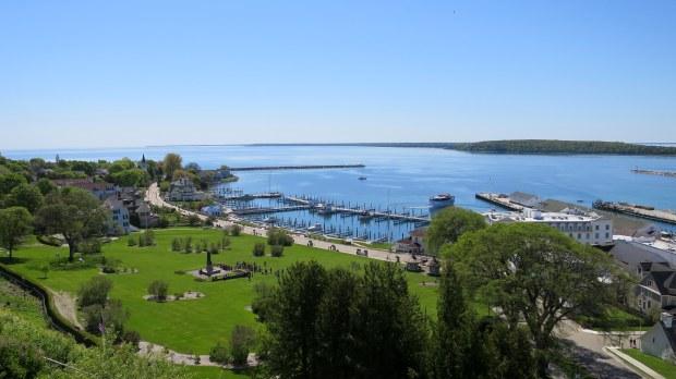 View of the marina from palisades of Fort Mackinac, Mackinac Island, Michigan