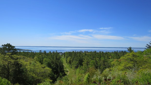 View from site of old Fort Holmes – the highest point on Mackinac Island, Michigan