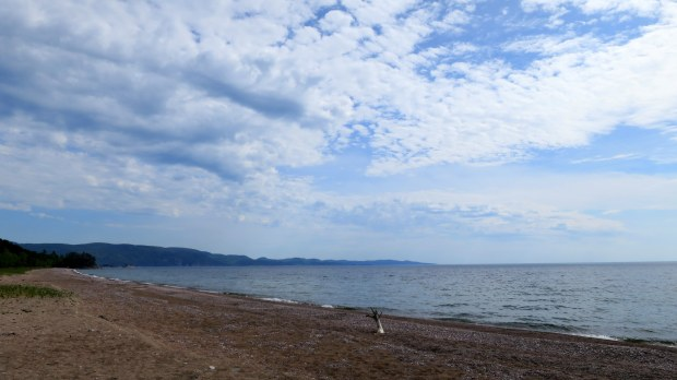 View from campsite on the beach, Lake Superior Provincial Park, Ontario, Canada