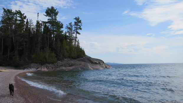 Walking towards the headland from camp, Lake Superior Provincial Park, Ontario, Canada