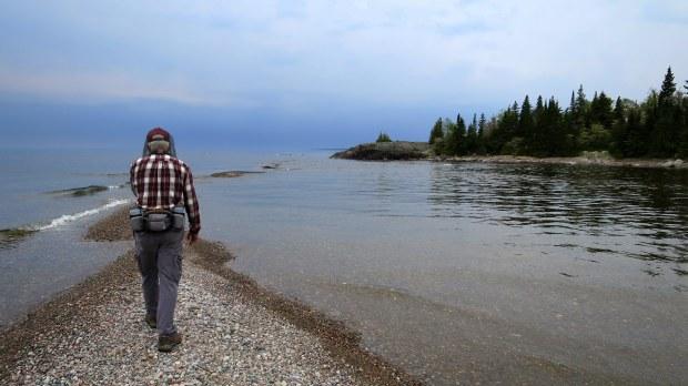 Shoals at mouth of Baldhead River, Orphan Lake Trail, Lake Superior Provincial Park, Ontario, Canada