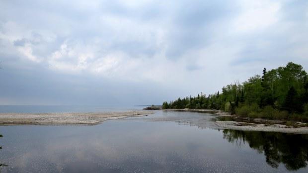 Looking back at mouth of Baldhead River, Orphan Lake Trail, Lake Superior Provincial Park, Ontario, Canada