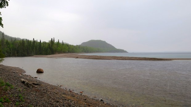 North side of mouth of Baldhead River, Orphan Lake Trail, Lake Superior Provincial Park, Ontario, Canada