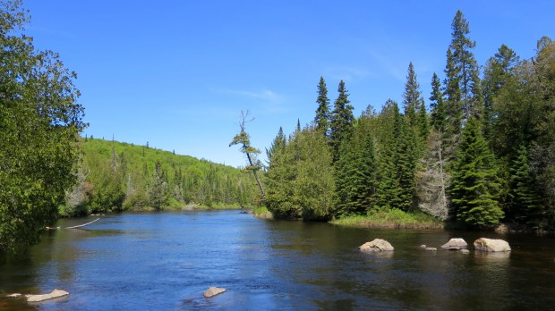 Upriver of the waterfalls, Pinguisibi Trail, Lake Superior Provincial Park, Ontario, Canada
