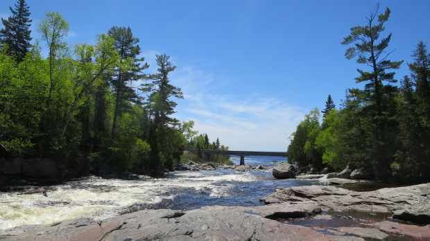 Looking at mouth of the Sand River, Pinguisibi Trail, Lake Superior Provincial Park, Ontario, Canada
