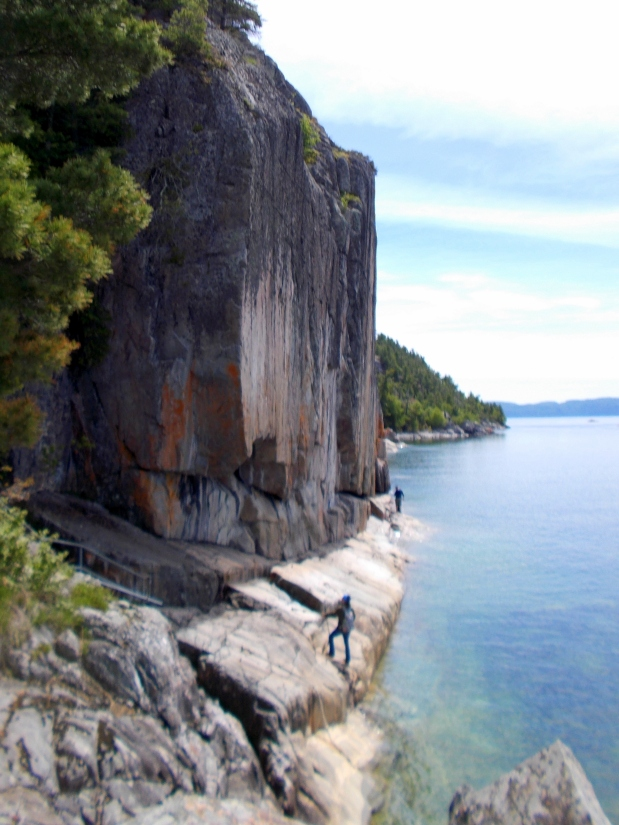 Me taking photos of Agawa Rocks Pictographs, Lake Superior Provincial Park, Ontario, Canada