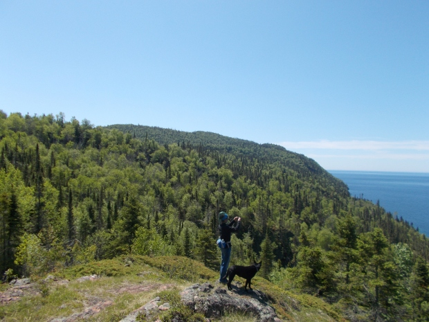 Me taking photos from the top, Casque Isles Trail, Schreiber, Ontario, Canada