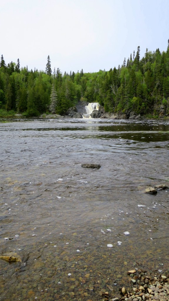 Middle Silver Falls from a distance, Magpie River, Ontario, Canada