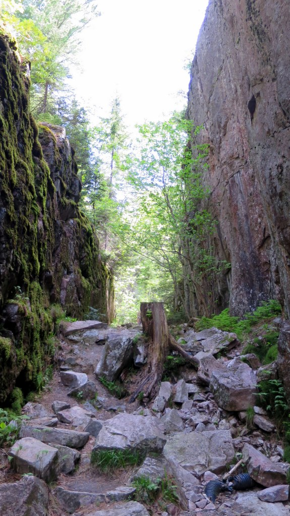 Wider section of fracture, Agawa Rocks Pictograph Trail, Lake Superior Provincial Park, Ontario, Canada