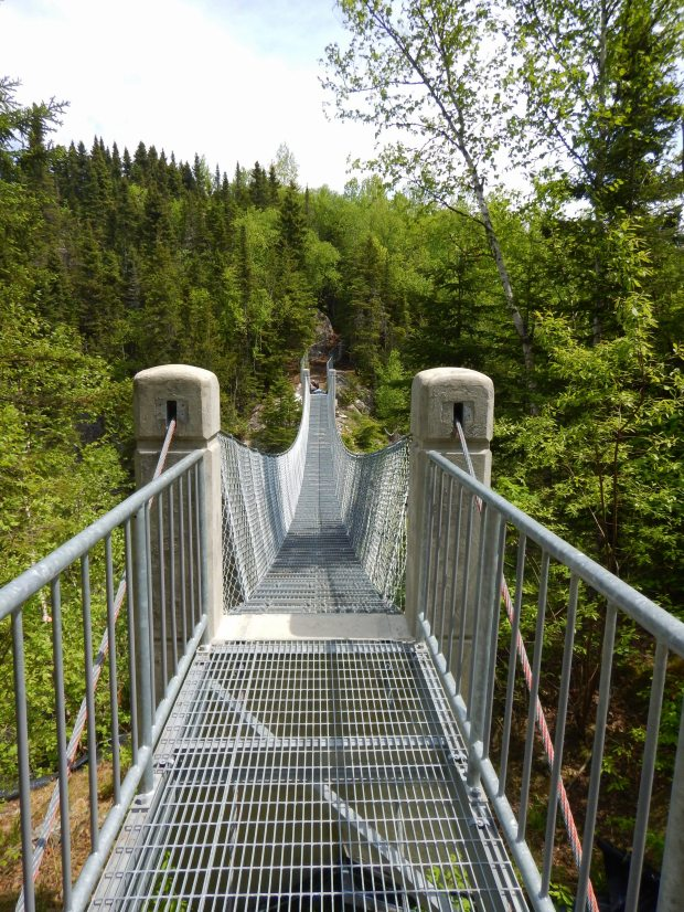 Suspension bridge, Coastal Trail, Pukaskwa National Park, Ontario, Canada