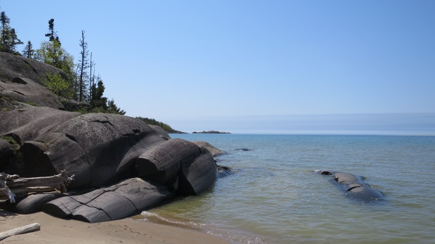 Basalt we climbed, Beach Trail, Pukaskwa National Park, Ontario, Canada