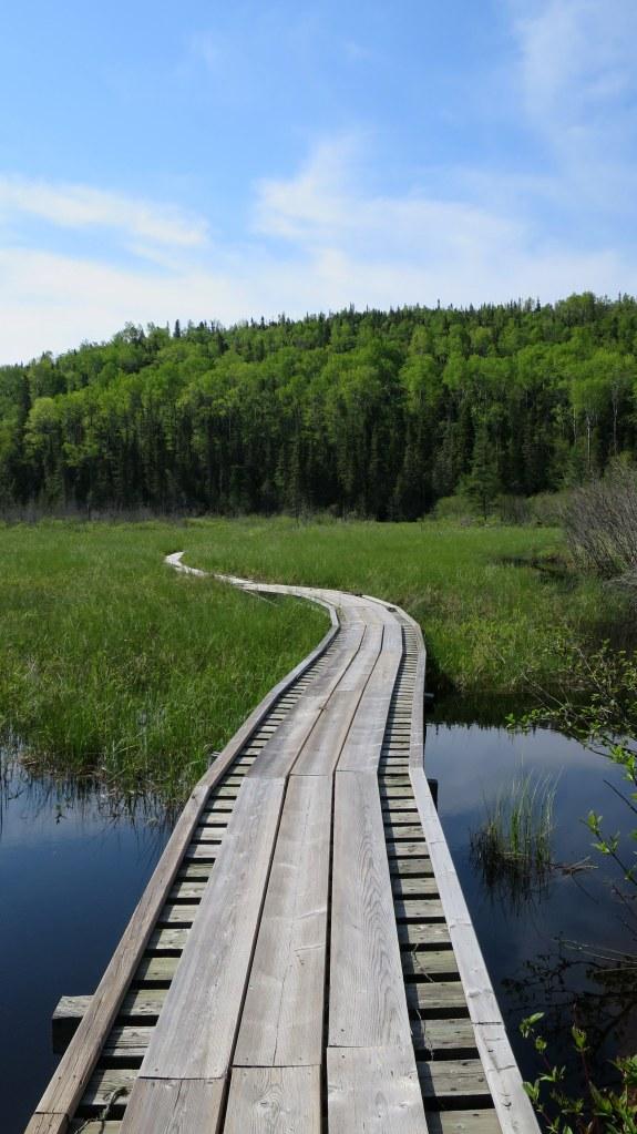 Floating boardwalk, Coastal Trail, Pukaskwa National Park, Ontario, Canada