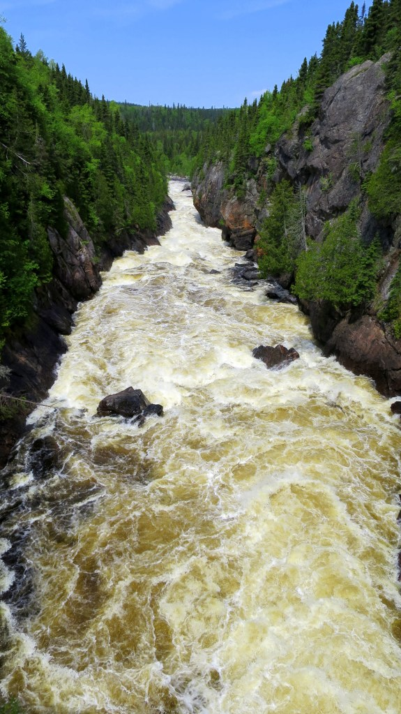 White River from suspension bridge, Coastal Trail, Pukaskwa National Park, Ontario, Canada