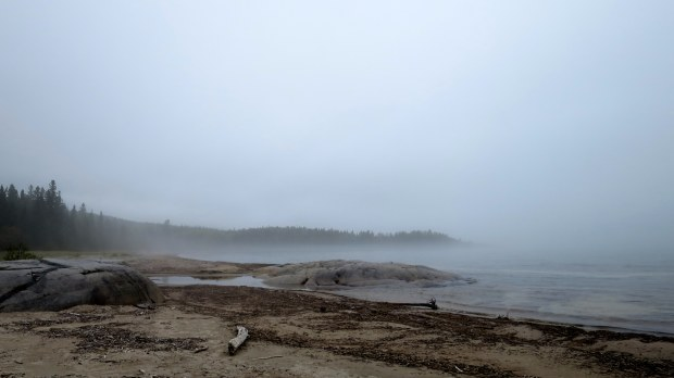 Fog on the beach, Neys Provincial Park, Ontario, Canada
