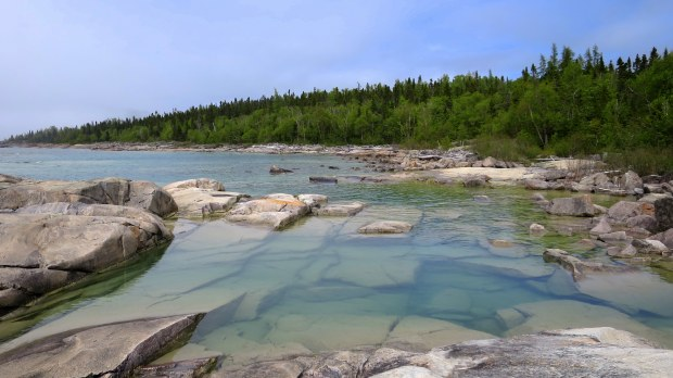 Closeup of blue water, Under the Volcano Trail, Neys Provincial Park, Ontario, Canada