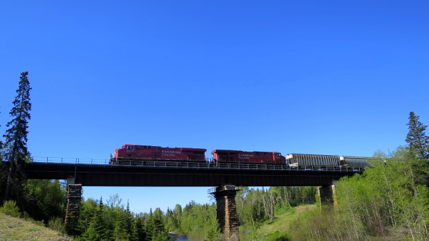 Canadian Pacific line crossing the Steele River, Ontario, Canada