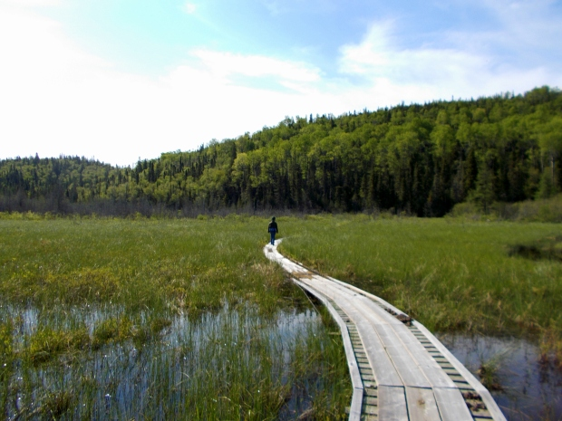 Me on floating boardwalk, Coastal Trail, Pukaskwa National Park, Ontario, Canada