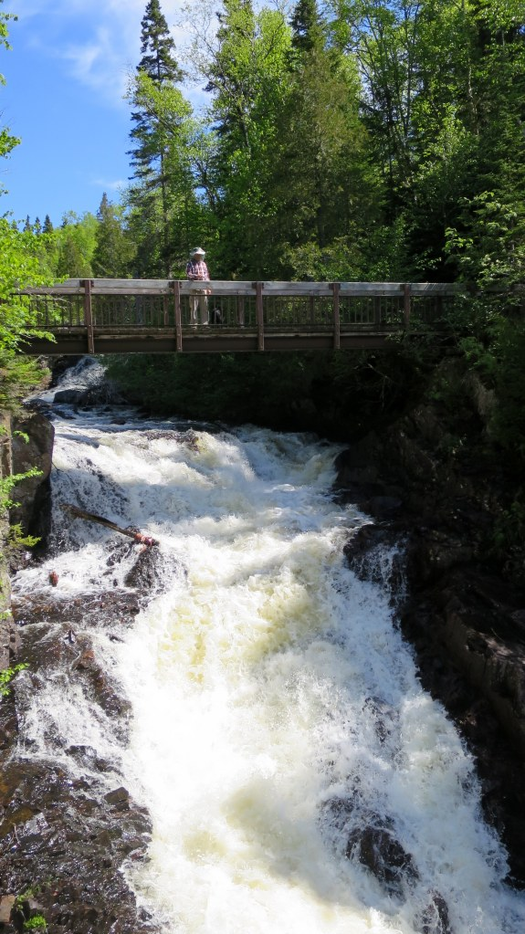 Tom taking photos from the bridge, Rainbow Falls Trail, Rainbow Falls Provincial Park, Ontario, Canada