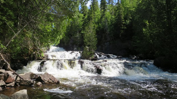 Falls downstream of trail, Rainbow Falls Provincial Park, Ontario, Canada